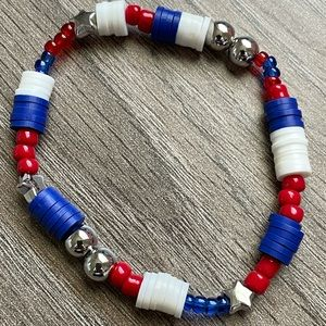 Patriotic Handmade Beaded Stretch Bracelet